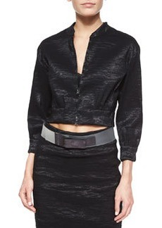 Crinkled Organza Cropped Jacket   Crinkled Organza Cropped Jacket