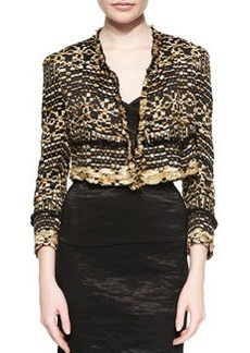Cropped Metallic Ribbon Tweed Jacket   Cropped Metallic Ribbon Tweed Jacket