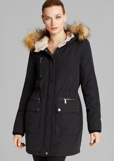DKNY Anorak - Faux Fur Trim Hooded