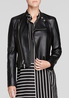 DKNY Asymmetric Leather Moto Jacket