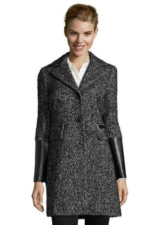DKNY black and white tweed 'Donovan' faux leather detailed jacket