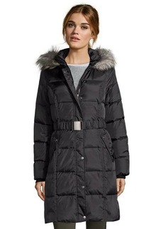 DKNY black box quilted belted and hooded down jacket
