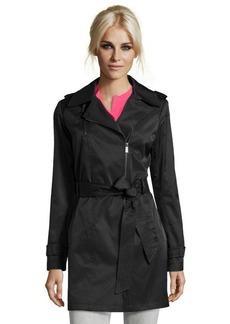 DKNY black cotton blend asymmetrical 'Peyton' trench
