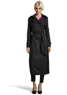 """DKNY black cotton blend """"Lea' double-breasted hooded maxi trench coat"""