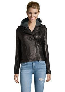 DKNY black leather and wool knit asymmetrical zip moto jacket