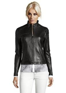 DKNY black leather 'Mara' zip front moto jacket