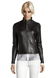 DKNY black leather 'Mara' zip front moto jacket