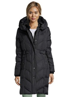 DKNY black quilted nylon down filled belted 3/4 length coat