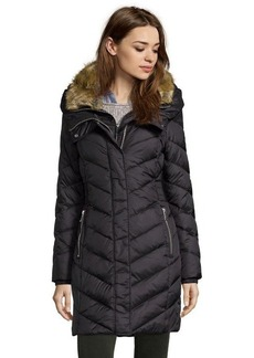 DKNY black quilted nylon down filled faux fur collar 3/4 length coat