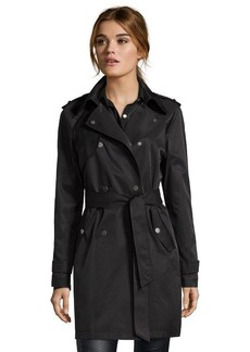 DKNY black water repellent cotton blend double breasted trench coat
