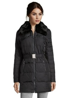 DKNY black woven 'Blakely' belted 3/4 length jacket
