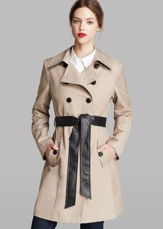 DKNY Combo Contrast Faux Leather Belted Trench Coat