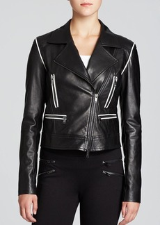 DKNY Contrast Piping Leather Moto Jacket