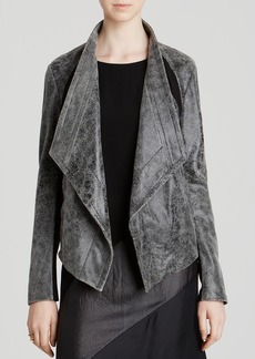 DKNY Distressed Drape Front Leather Jacket