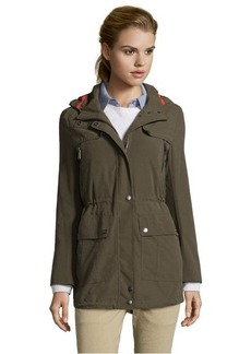 DKNY dusty olive woven 'Cady' hooded anorak