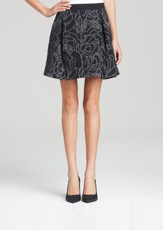 DKNY Embroidered Floral Mini Skirt