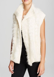 DKNY Exclusive Feather Trim Sweater Vest