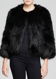 DKNY Faux Fur Cropped Jacket