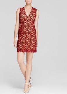 DKNY Floral Lace V Neck Dress
