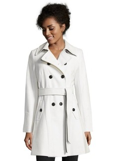 DKNY ivory wool blend 'Blake' belted 3/4 length trench coat