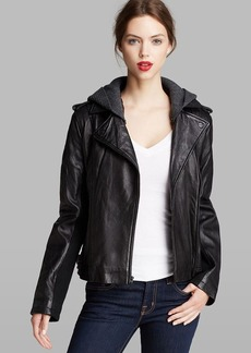 DKNY Jacket - Knit Hood Leather Moto