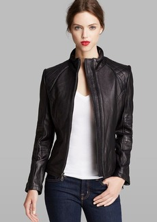 DKNY Jacket - Scuba Quilted Sleeve Leather