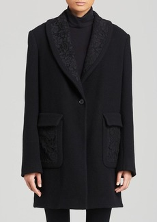 DKNY Lace Trim Wool Blend Coat