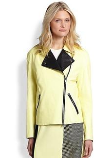 DKNY Leather Contrast Moto Jacket