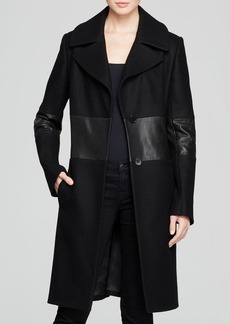 DKNY Leather Stripe Coat