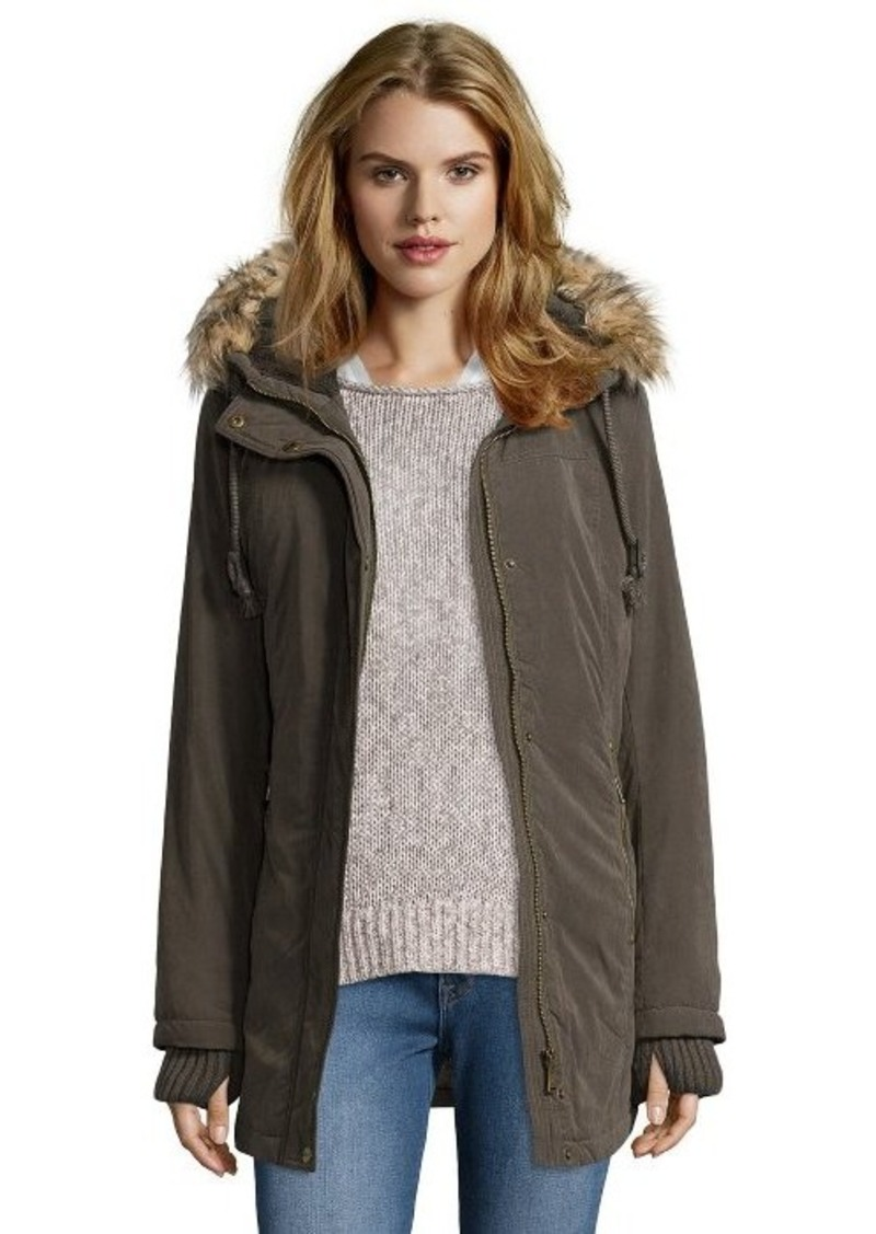 DKNY DKNY loden water resistant faux fur trim hooded ...