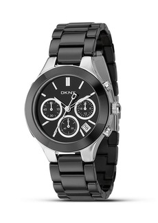 DKNY Medium Stainless Steel and Black Ceramic Watch, 30mm