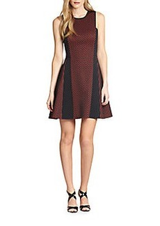 DKNY Mesh & Scuba Panel A-Line Dress