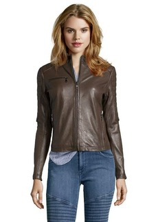 DKNY mushroom leather 'Mara' zip front moto jacket