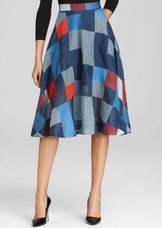 DKNY Patchwork Full Silk Skirt