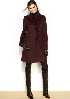 DKNY Petite Wool-Blend Ruffled Walker Coat