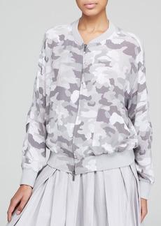 DKNY Pure Camo Print Silk Bomber Jacket