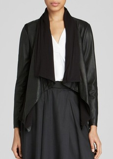 DKNY Pure Drape Front Leather Jacket