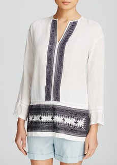 DKNY Pure Embroidered Linen Tunic