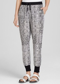 DKNY Pure Graphic Print Silk Ankle Pants