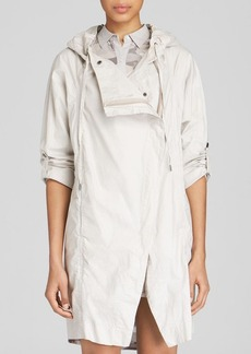 DKNY Pure Hooded Asymmetric Zip Coat