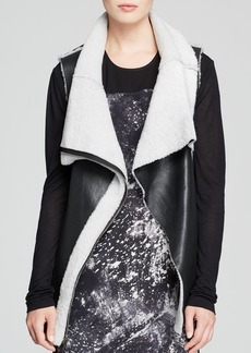 DKNY Pure Leather Shearling Vest
