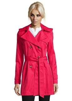 DKNY real red cotton blend 'Abby' hooded trench