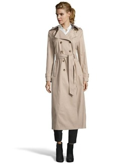 """DKNY sand cotton blend """"Lea' double-breasted hooded maxi trench coat"""