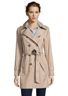 DKNY sand water repellent cotton blend double breasted trench coat
