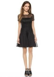 DKNY Short Sleeved Seamed Dress