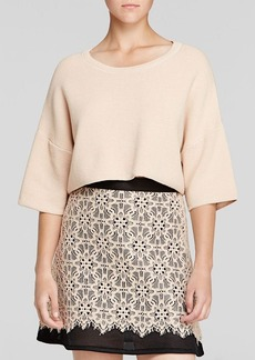 DKNY Silk Cashmere Cropped Sweater