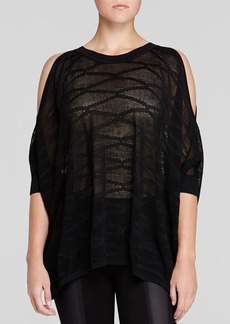 DKNY Silk Cold Shoulder Sweater