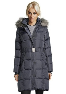 DKNY steel grey box quilted belted and hooded down jacket