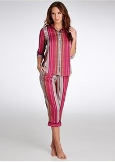 DKNY Striped Woven Capri Pajama Set