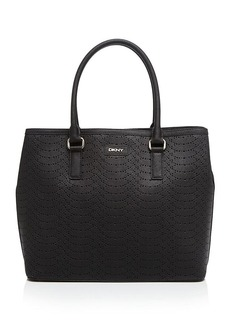 DKNY Tote - Large Square Perforated Python-Embossed